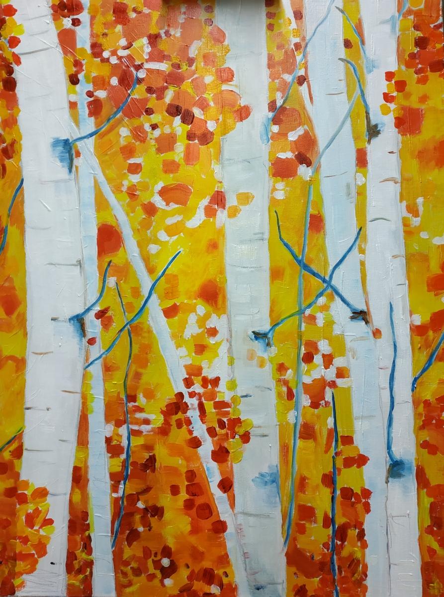 Berkenbos met rode achtergrond